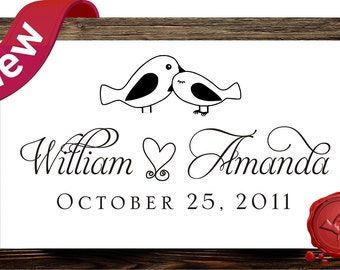 Custom  rubber stamp address  or save the date  - wood handle -  love birds - personalized wedding  gift -  HS 1305