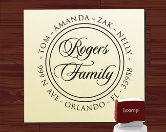 Custom Personalized round SELF INKING Return Address Rubber Stamp - style 9013M - cute wedding or christmas gift