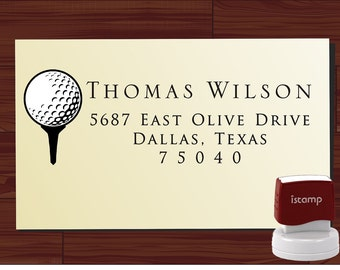 GOLF theme Custom Personalized  SELF INKING Return Address Rubber Stamp - style 1297- cute wedding or christmas gift