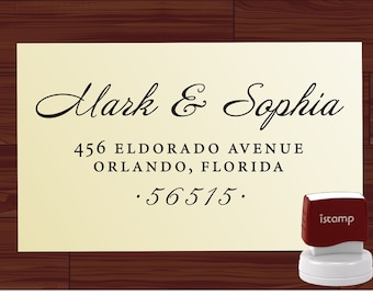 Custom Address Rubber Stamp - SELF INKING Stamp Style 1280K -  Personalized  Wedding  Stamper