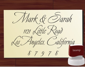 Custom calligraphy SELF INKING stamp  Return Address Stamp -Personalized  wedding gift  - design 9016C