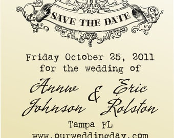 Vintage design SAVE THE DATE Custom rubber stamp  clear block mounted  typewriter font -style 6012  - custom wedding stationary