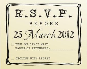 RSVP rubber stamp for custom DIY wedding invitations -style 6021RSVP  - custom wedding stationary