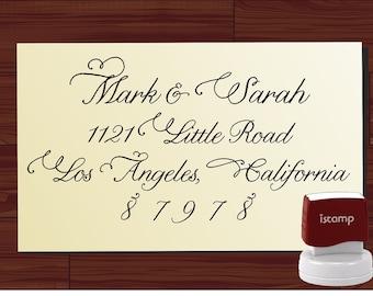 Handwriting Script Custom  Return Address Stamp  - SELF INKING Style 9016 - Personalized Wedding or Christmas Stamper