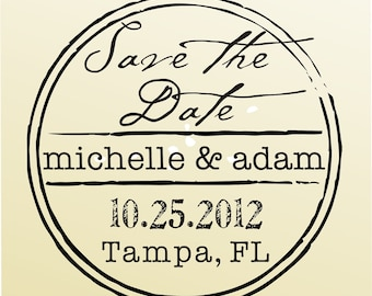 SAVE THE DATE vintage design typewriter font rubber stamp clear block mounted -style 6024  - custom wedding stationary