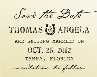 SAVE THE DATE vintage design typewriter font rubber stamp clear block mounted -style 6025  - custom wedding stationary