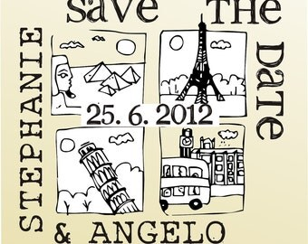 SAVE THE DATE vintage design typewriter font rubber stamp clear block mounted -style 6026  - custom wedding stationary