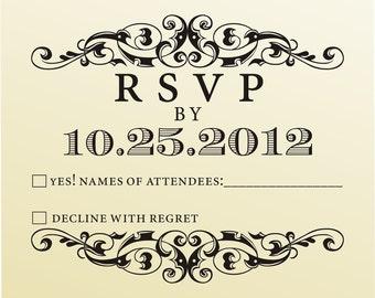 RSVP rubber stamp for custom DIY wedding invitations -style 6031RSVP  - custom wedding stationary