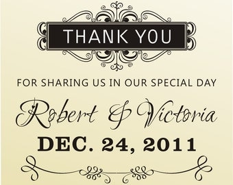 THNAK YOU for sharing in our special day rubber stamp clear block mounted -style 6034thank you  - custom wedding stationary