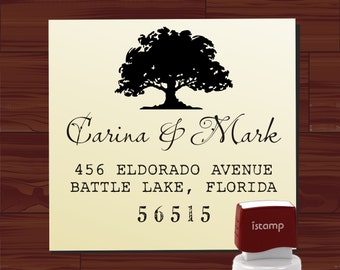 RETURN ADDRESS STAMP Self Inking Oak Tree Evelope Addressing Name Stamp Personalized Wedding Favor Stamp - Label 6019ADDRESS