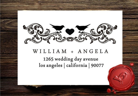 Vintage Design Custom  Personalized  address or save the date rubber stamp with cute love birds - the perfect  wedding  gift - style HS1278