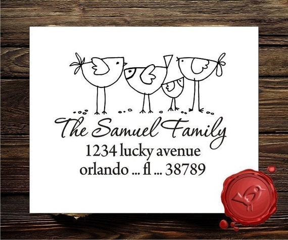 Bird Family Custom Rubber Stamp - Return Address Stamp - Personalized Old Fashion Rubber Stamper - Style 1232
