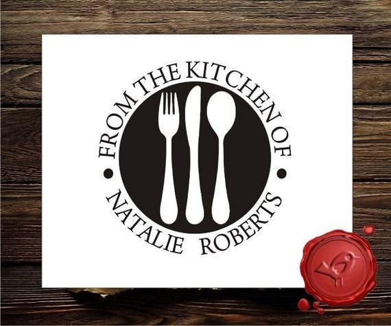 FROM THE KITCHEN Of Custom Rubber Stamp Personalized Name Wood Handle or pre - inked Stamp - style 1562