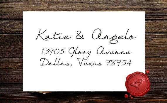 NEW DESIGN Custom handwriting Calligraphy Personalized  return address rubber stamp cute  wedding  gift - style 1281