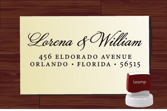 Custom Stamp in Modern Script Font - SELF INKING Style 1172Q - Personalized Return Address Rubber Stamper for Wedding or Christmas Gift