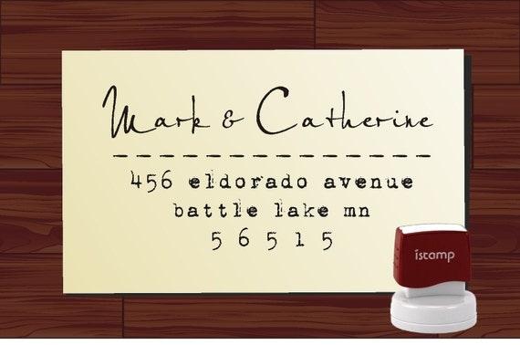 Custom  Address Rubber Stamp SELF INKING Calligraphy Script Typewritter Font - Style 1282 - Elegant Personalized Wedding Stamper