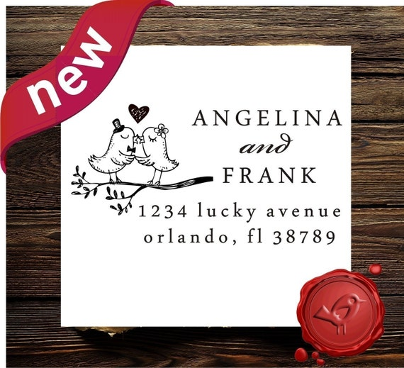 Custom  rubber stamp - wedding stamp - address stamps - save the  date -wood handle  - style HS 1295