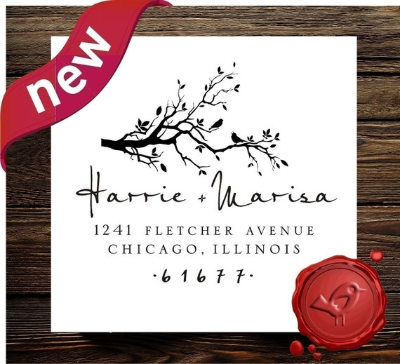 Custom  Personalized    wood handle address  or save the date rubber stamp with bird on swirl branch cute  wedding  gift - style 1240D