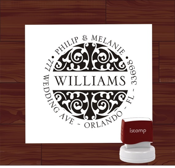 Custom SELF INKING Damask Return Address Rubber Stamp ---- Style1252 - Personalized Stamper - Wedding, Christmas, or Housewarming Gift