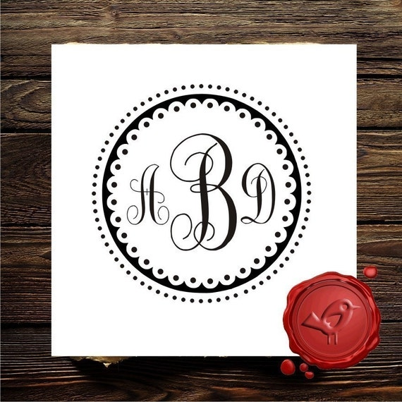 rubber stamp monogram stamp wood handle personalized wedding
