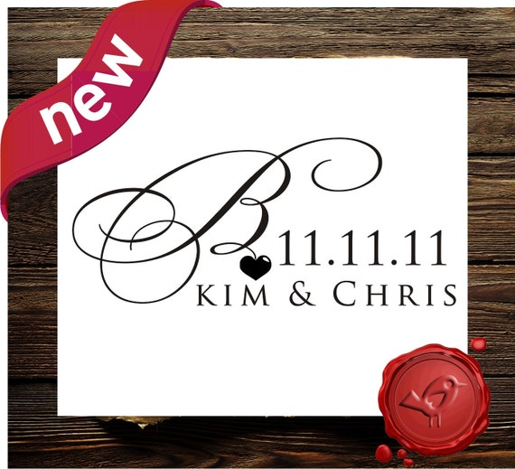 NEW design Custom  Personalized monogram  wood handle mounted  save the date rubber stamp with your initial / monogram    - style 7023