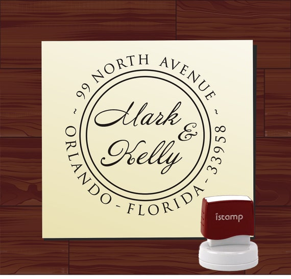Modern Script Custom Address Rubber Stamp - Personalized Round SELF INKING Wedding Address Stamper - Style 9013K
