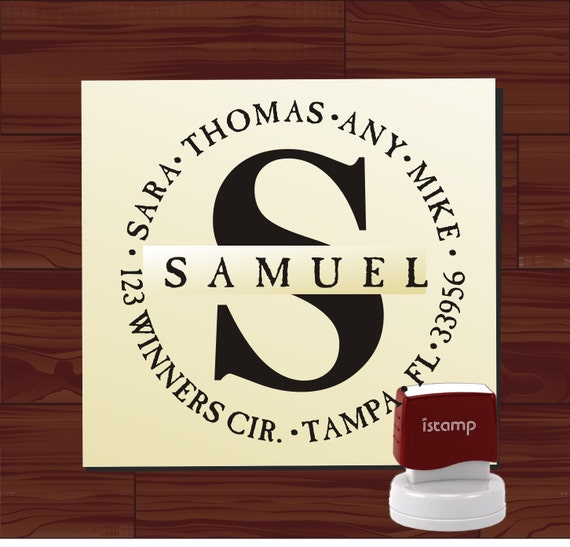 Modern Monogram Initial Custom Rubber Stamp - SELF INKING Personalized Wedding Stationery Address Stamper - Style 1256