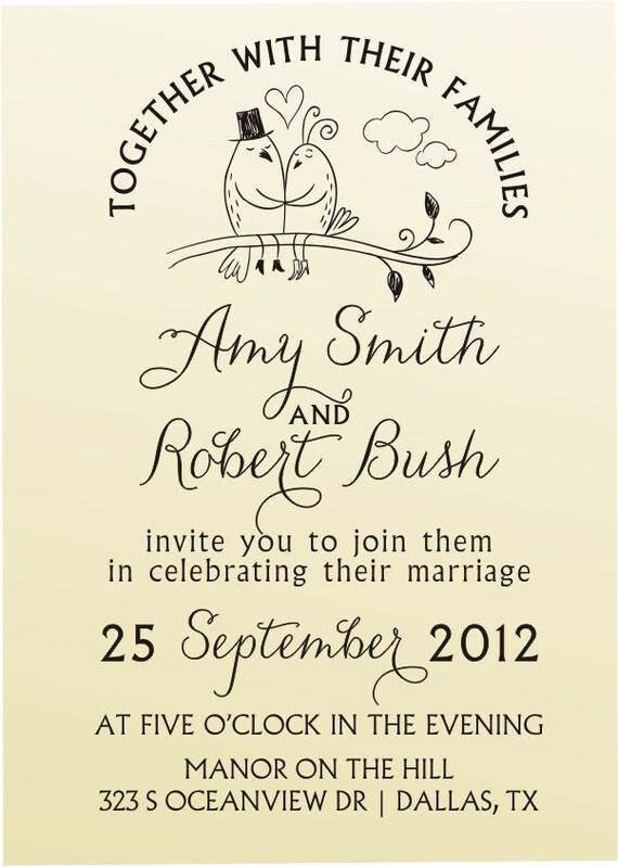LOVE BIRDS  Wedding invitation design typewriter font rubber stamp clear block mounted -style 6030INVITATION  - custom wedding stationary