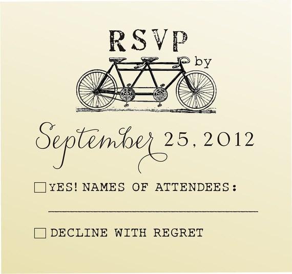 Tandem Bicycle Wedding RSVP stamp, Something Blue Save the Date rubber stamp, Custom DIY Wedding Invitations Stamp - (6028RSVP)