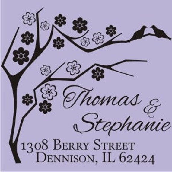Personalized address or wedding design custom text rubber stamp cute for wedding invitations  - style 1231