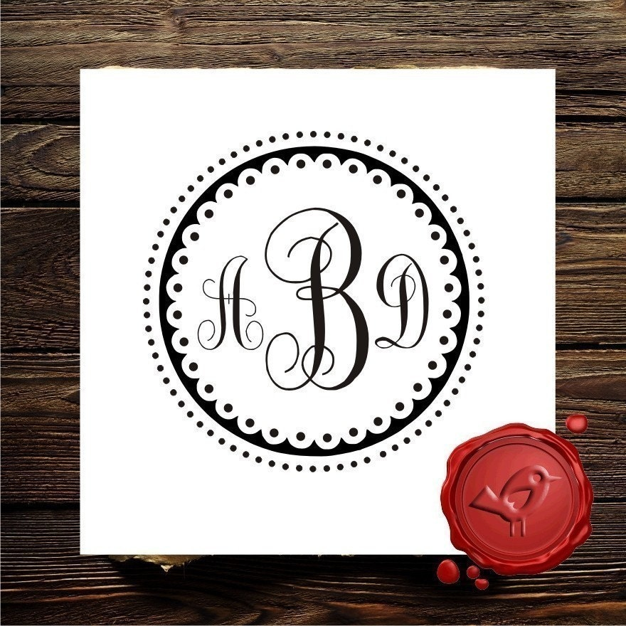 custom rubber stamp monogram stamp wood by lovetocreatestamps