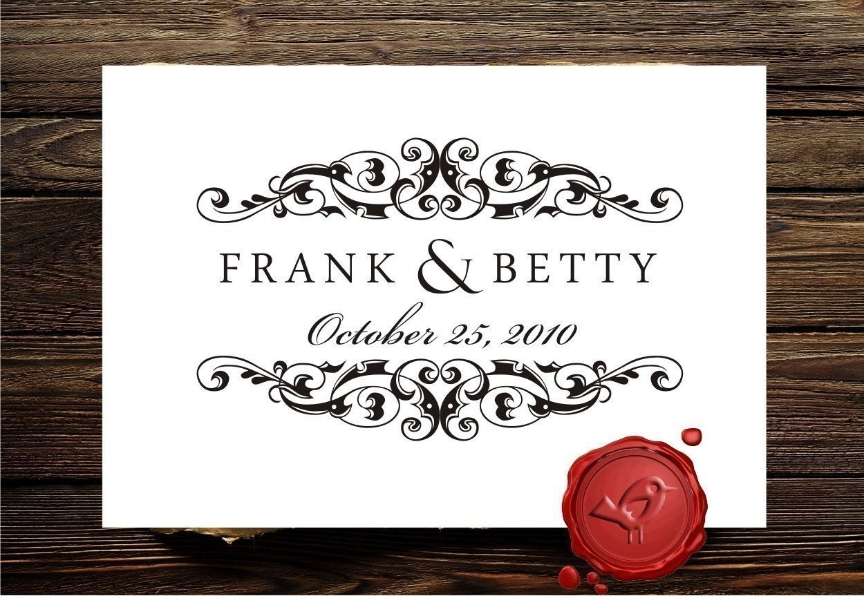 save the date custom rubber stamp wedding monogram custom