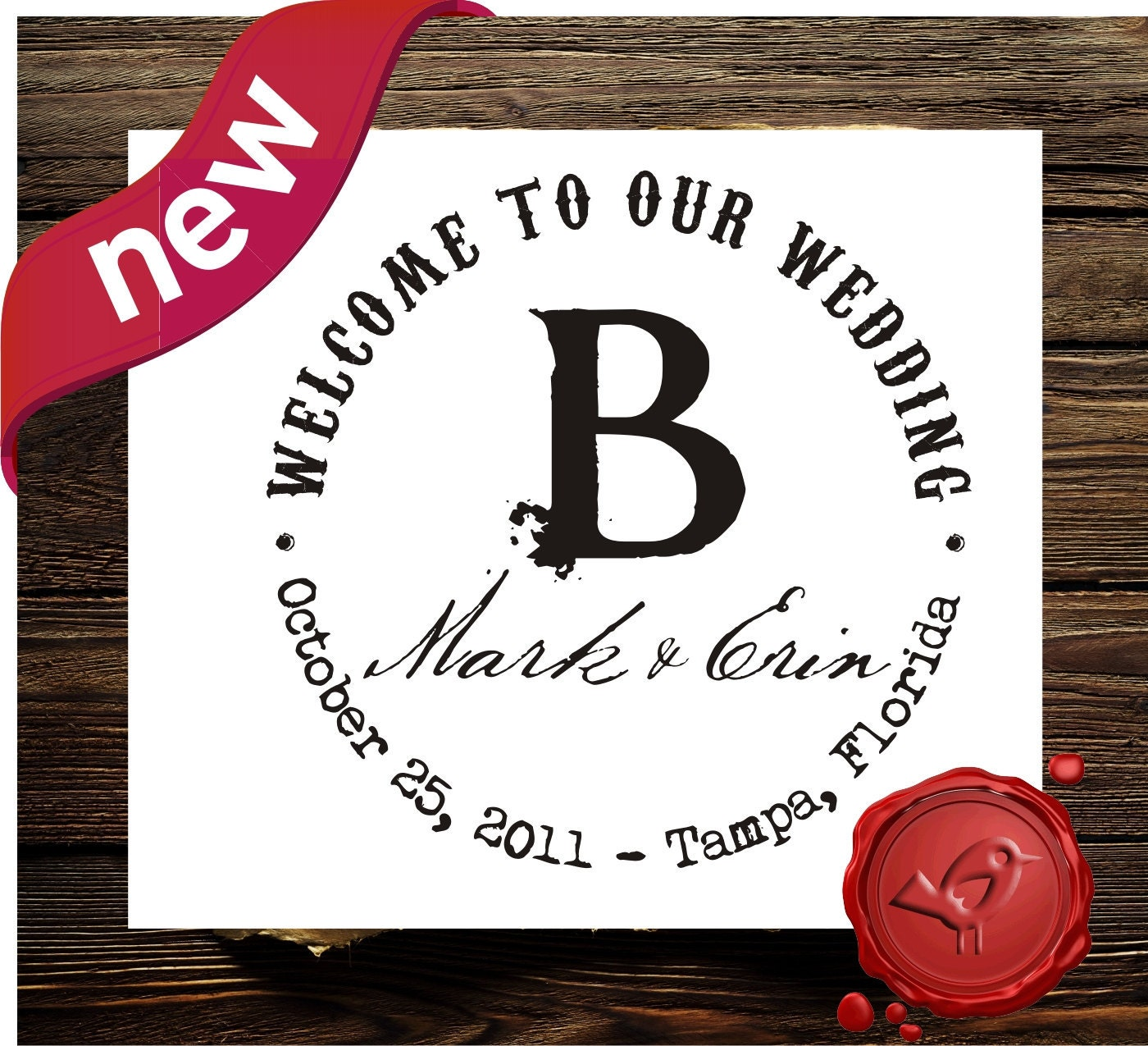save the date custom rubber stamp wedding candy buffet