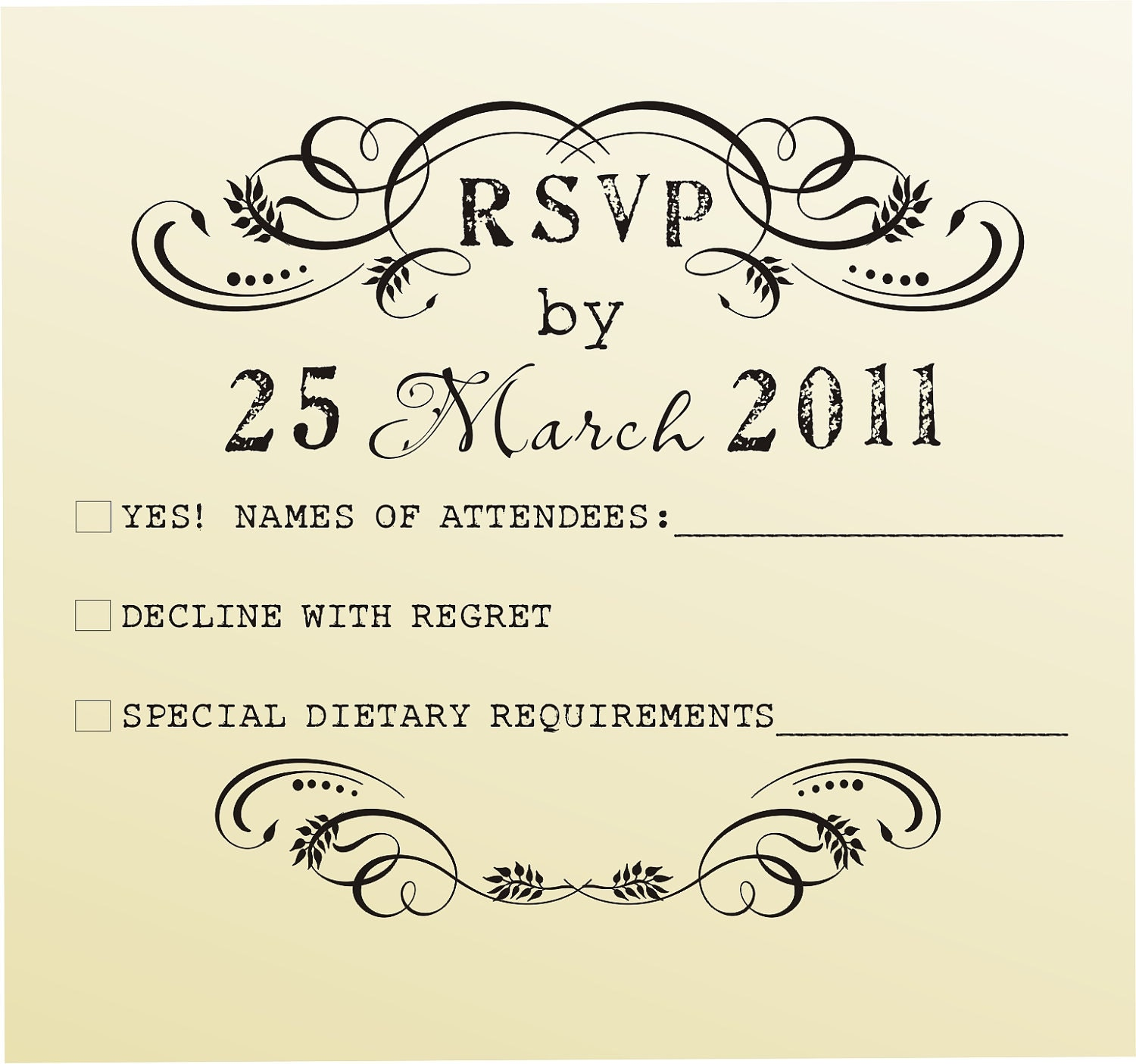 RSVP Rubber Stamp For Custom DIY Wedding Invitations Style