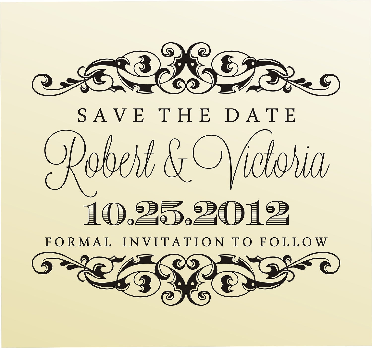 Save The Date Wedding Floral Ornament Wedding Floral: SAVE The DATE Stamp Clear Block Rubber Stamp Modern