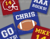 EDITABLE PDF digital collage sheet - football team colors, you choose 2 colors - one inch squares inchies for glass tiles