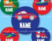 EDITABLE PDF or JPEG digital collage sheet - cars / transportation  - one inch circles, squares, scrabble tile or custom size