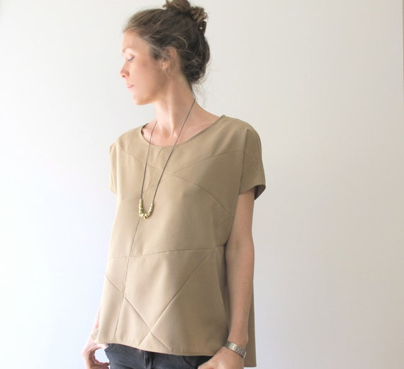 shirt geometric sand 100% modal