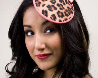 Leopard Print Bow Cocktail Hat