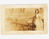 Victorian RPPC Girl In Goat Cart With Little One Beside