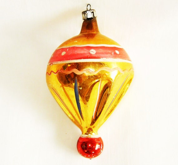 Vintage Spinning Top Glass Figural Christmas Ornament - 1950s Poland Gold And Pink Hot Air Balloon Tree Decoration