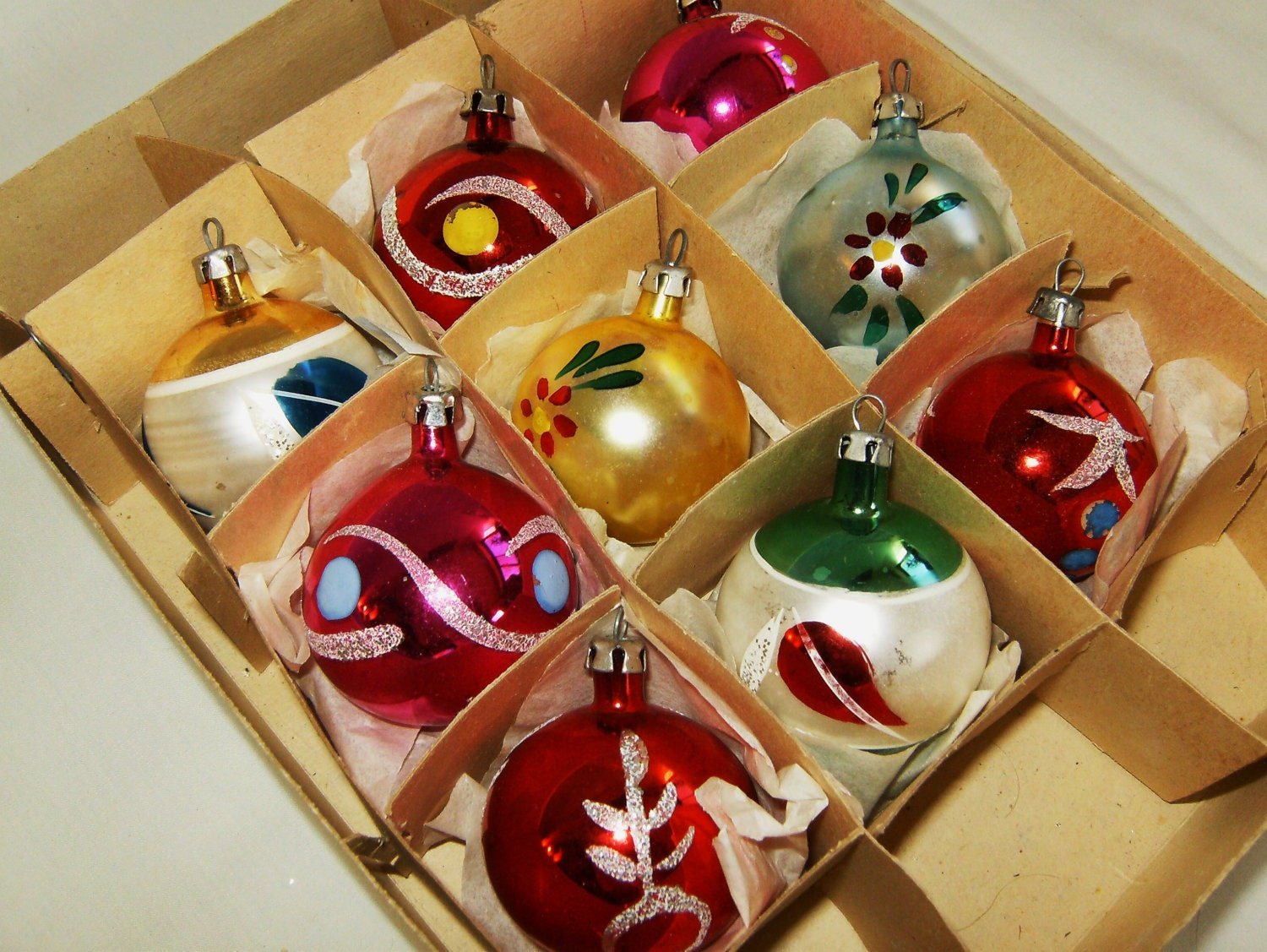 Fancy glass christmas ornaments vintage polish