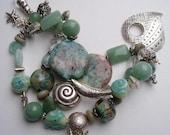 Chunky bracelet..sterling silver..lampwork..semi precious