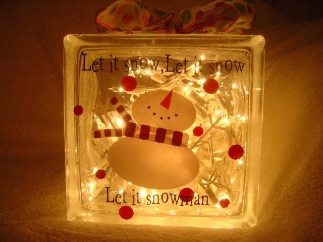 Let It Snow Glass Block Vinyl Design