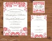 Damask Printable Wedding Invitation, DIY print at home template  - Darling