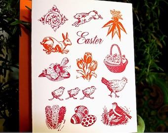 Letterpress Easter Card Bunny Rabbit Birds Flowers Orange Pink