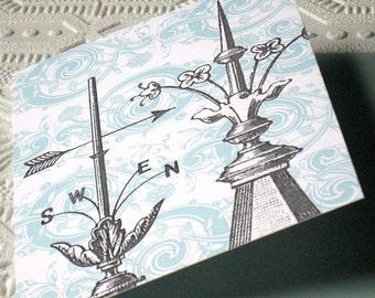 Garden Weathervane Note Card Folded Blank Grey Aqua