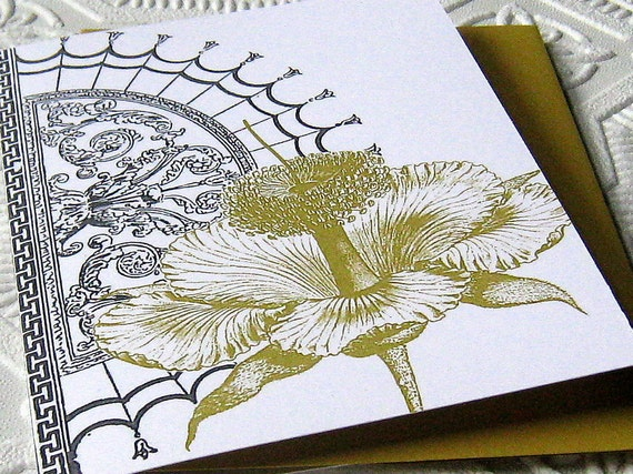 Hibiscus Grey & Gold Blank Note Card