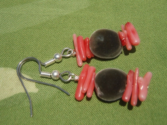 Velvet Seed Jewelry / Mgambo Seed  Red Coral Earrings. Contrasting Red Coral And Smoky Gray Velvet Bead Earrings. Hawaii Jewelry Earrings!