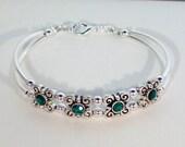 Swarovski Emerald Crystal Bracelet - Birthstone, Bridal, Wedding - MADE TO ORDER